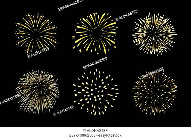 Beautiful gold fireworks set. Bright fireworks isolated black background. Light golden decoration fireworks for Christmas, New Year celebration