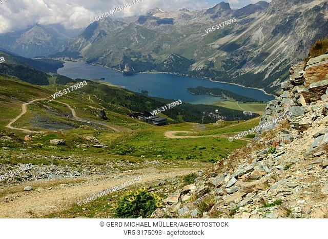 Beautifull glacier-mountain lake Silvaplana seen from Furtschella in the swiss alps of the upper Engadin