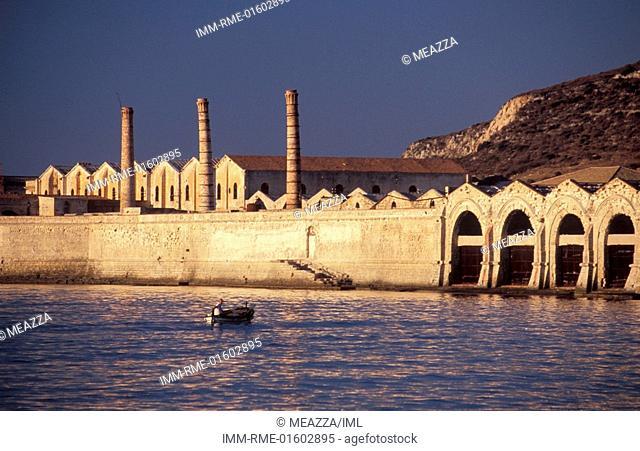 Tonnara, boat , Favignana, Egadi Islands, Sicily, Italy, Europe
