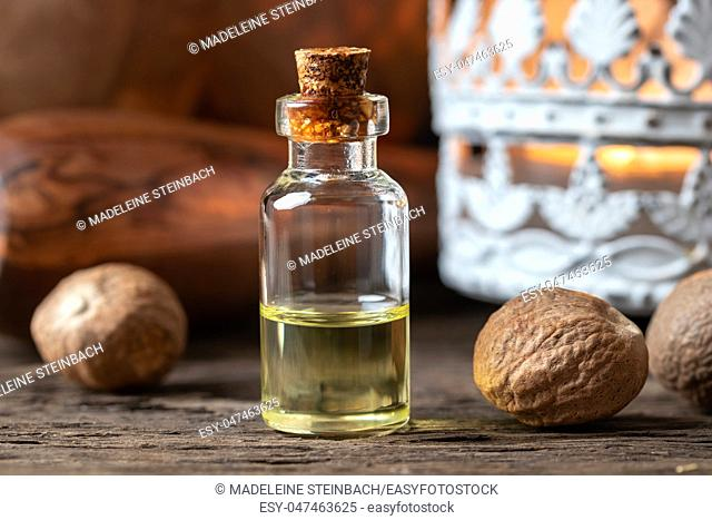A bottle of nutmeg essential oil