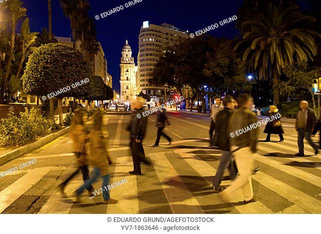 Citizens across the street  Center of Malaga  Malaga, Andalusia, Spain, Europe