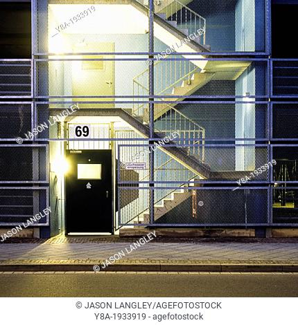 Illuminated parking garage and stairs, Leipzig, Saxony, Germany