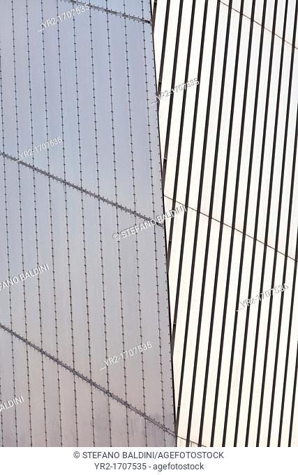 Detail of the Imperial War Museum North building,designed by Daniel Libeskind, Salford Quays, Manchester, England
