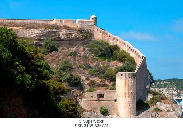 Old town with fortress on cliff, Bonifacio, Corse-du-Sud, Corsica, France