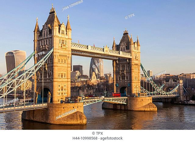 England, London, Tower Bridge and City Skyline