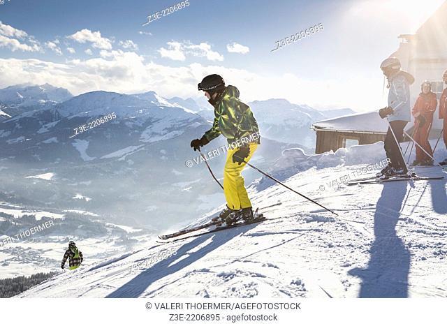A skier on the piste in Alps near Kufstein in Austria, Europe