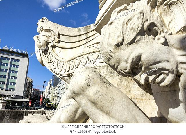 Portugal, Lisbon, Marquis of Pombal Square, Marquess, monument, plaza, roundabout, rotunda, monument, detail, sculpture