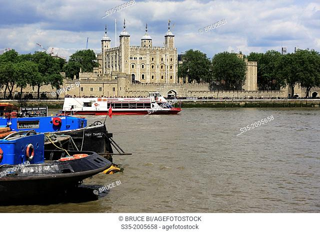Tower of London with River Thames in foreground. London. England. United Kingdom