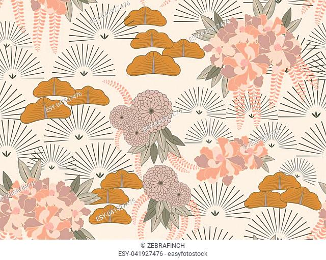 Aster pink flower Japanese garden.Hand drawn floral seamless background.Botanical repainting design for fabric or textile