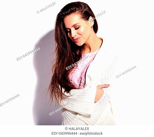 afa07044d1a Portrait of beautiful caucasian smiling brunette woman model in bright pink  summer stylish dress isolated on