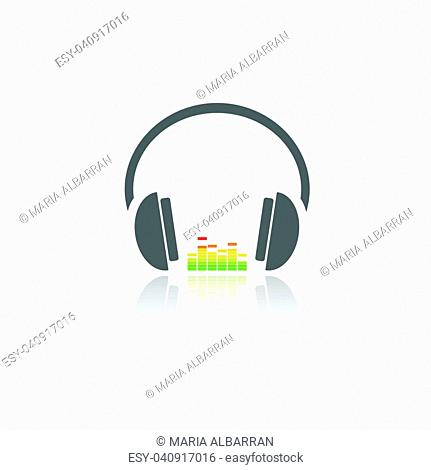 Headphones with music icon on white background and reflection