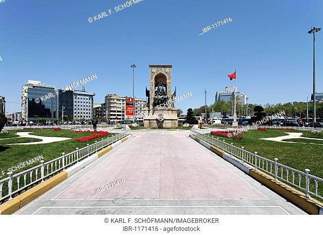 Independence monument by Pietro Canonica, Taksim Square, Beyoglu, Istanbul, Turkey