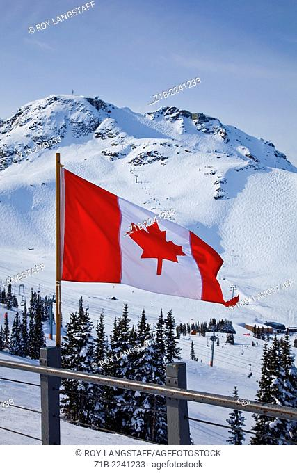 Canadian flag with Whistler Mountain in the background