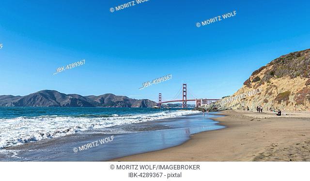 Golden Gate Bridge, Marshall's Beach, rocky coast, San Francisco, USA
