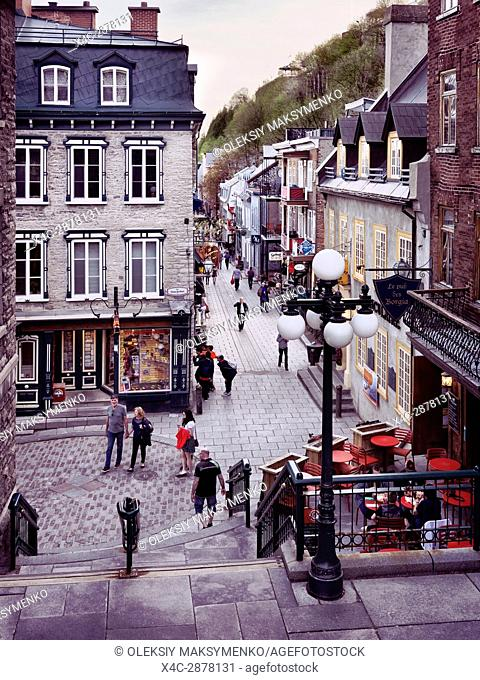 Le pub des Borgia and other shops and restaurants on historic streets Rue du Petit Champlain and Rue Sous Le Fort of old Quebec City, view from above