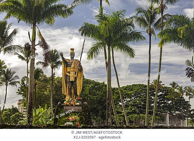 Hilo, Hawaii - A statue of Kamehameha the Great in Wailoa River State Park. Kamehameha unified the Hawaiian islands into the Kingdom of Hawaii in 1810