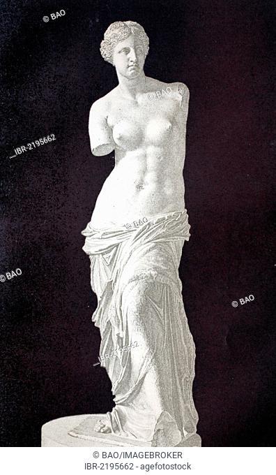 Venus de Milo sculpture, historical illustration, wood engraving, circa 1888