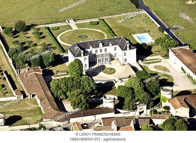 France, Charente, Lautrait Triac, Triac Castle is located in the valley of the Charente between Jarnac and Bassac aerial view