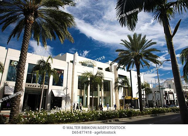 Shops along Rodeo Drive, Beverly Hills, Los Angeles, California, USA