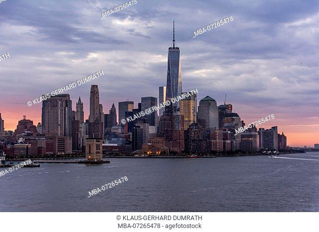 City panorama in the morning of New York in USA