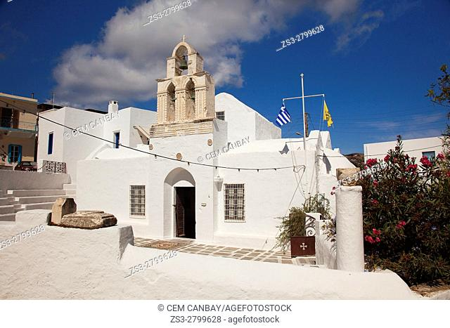 View to the Church Of The Holy, today theTrinity the Ecclesiastical Museum of Milos, in the port village Adamas, Milos, Cyclades Islands, Greek Islands, Greece