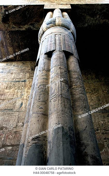 Luxor, Egypt. Temple of Luxor (Ipet resyt): column in the form of closed papyrus