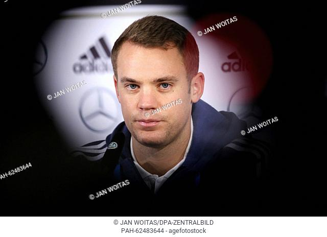 Germany's goalkeeper Manuel Neuer attends a press conference of the German national soccer team in Leipzig, Germany, 10 October 2015