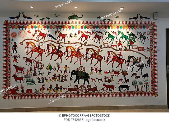 Pithora Painting, Government Guest House, Chhota Udipur Taluka, District Chhata Udepur, Gujrat, india. Pithora paintings are more of a ritual than an art form