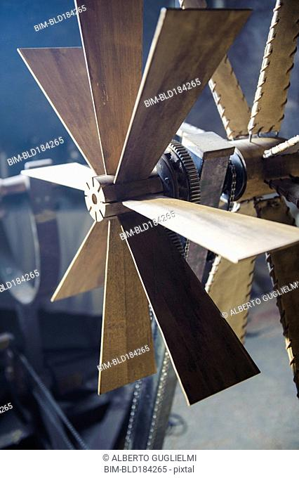 Close up of wooden windmill blades