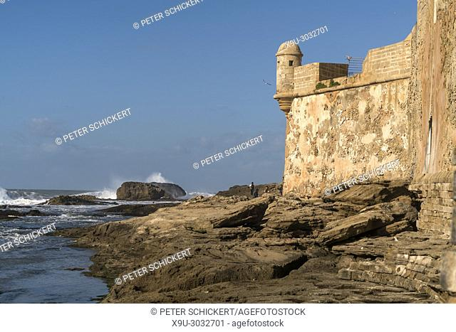 city wall on the coast in Essaouira, Kingdom of Morocco, Africa