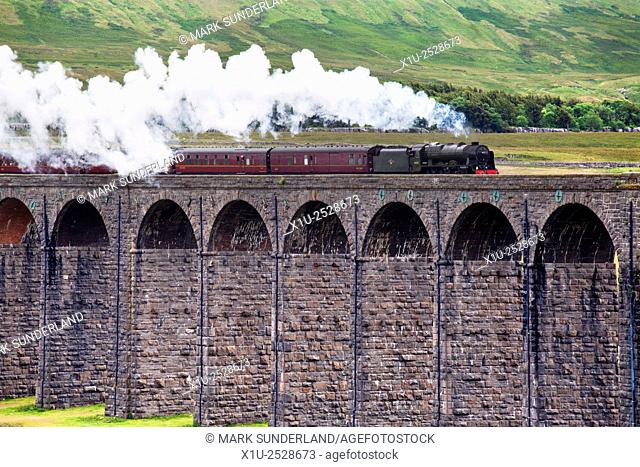 Steam Train Hauled by The Scots Guardsman Crossing the Ribblehead Viaduct Yorkshire Dales England