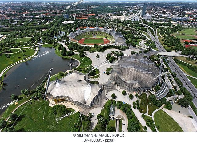 Munich Olympic Park , view from Olympic tower , Munich Bavaria Germany