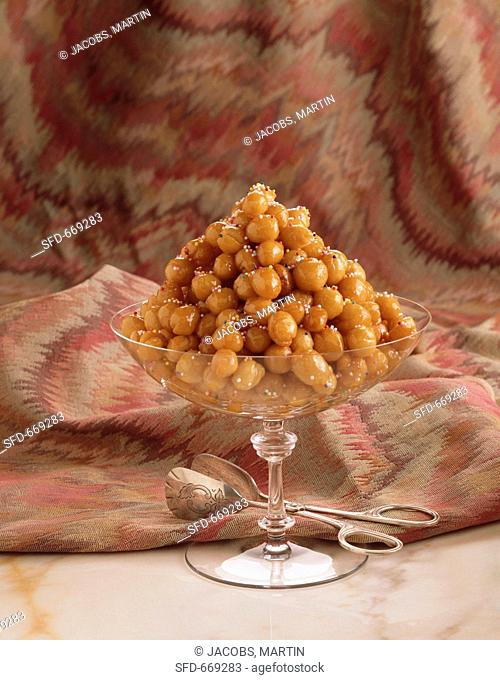 Croquembouche in a Large Serving Dish with Colored Sprinkles