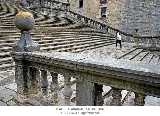 Stairs of the Cathedral of Santa Maria, Girona, Catalonia, Spain
