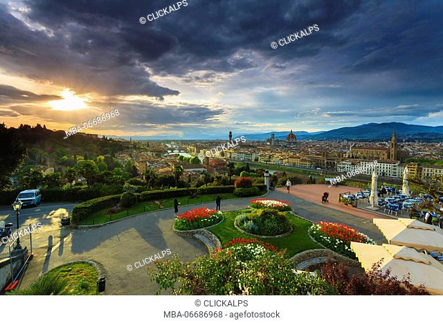 Sunset view from Piazzale Michelangelo, Florence, Tuscany, Italy, Europe