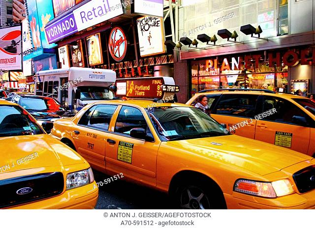 Taxis on Times Square. New York City. USA