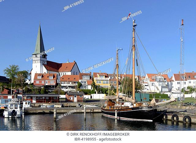Fishing port and Nikolai Church in Ronne, Bornholm, Denmark