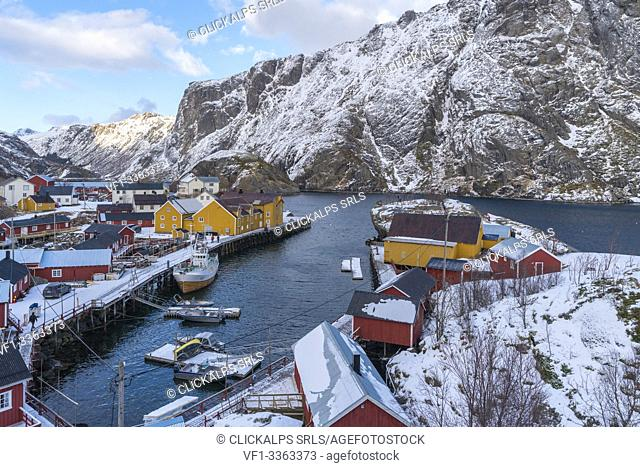 Boats in the harbour of the village in winter. Nusfjord, flakstad municipality, Nordland county, Northern Norway, Norway