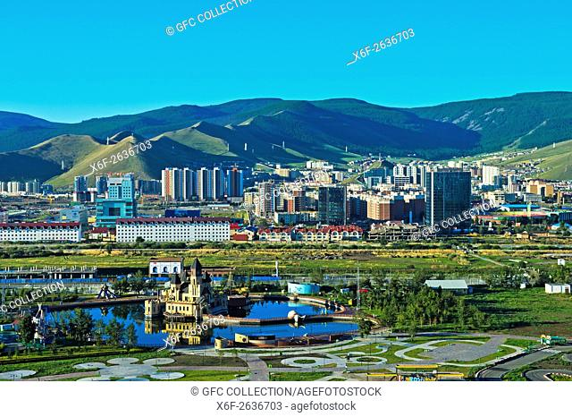 View over the National Amusement Park and the new residential areas in the South of Ulaanbataar, Capital of Mongolia
