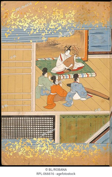 Japanese musicians, Story chronicling the rise of Bunsho from salt-worker to father-in-law of the Emperor. Image taken from Bunsho 'The Tale of Bunsho