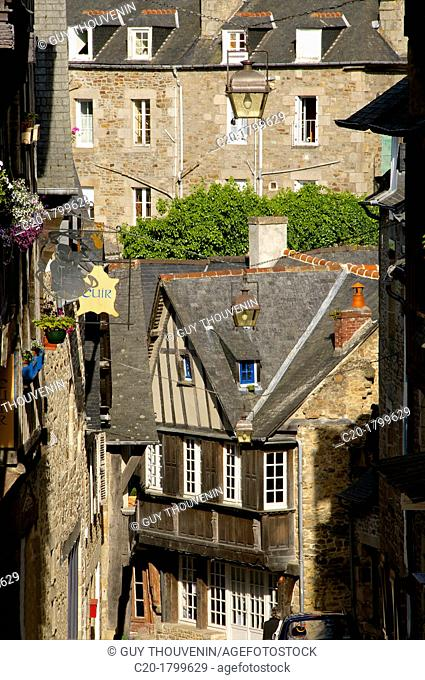 Medieval corbelled and half timbered mansions, in cobbled street, Old Town, Dinan, Brittany, Cotes d'Armor, France