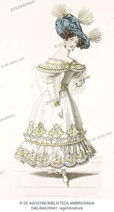 Woman wearing a white dress with short-puffed sleeves decorated with lace and yellow plant motifs, and blue hat adorned with feathers, plate 5, French Fashions