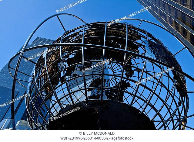 The Steel Globe Sculpture in Front of Time Warner Center On Columbus Circle, New York, New York, USA