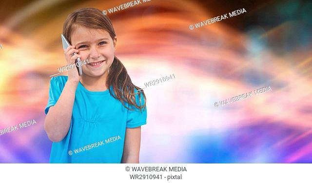 Happy female using smart phone over blurred background