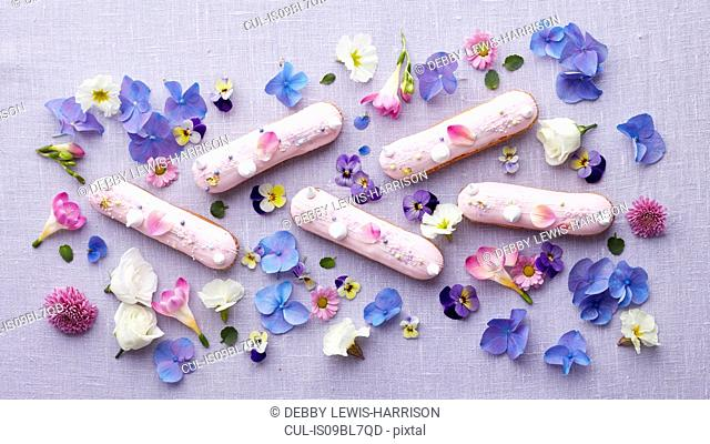 Finger biscuits and small flower heads arrangement