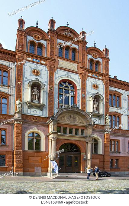 Rostock University A popular cruise ship stop on the Baltic Sea Rostock is a city straddling the Warnow River on the north coast of Germany. Itâ