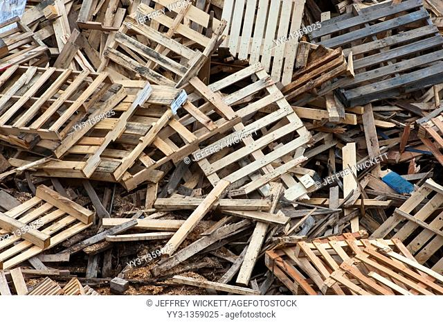 Pile of trashed pallets at recycling business in Michigan, USA