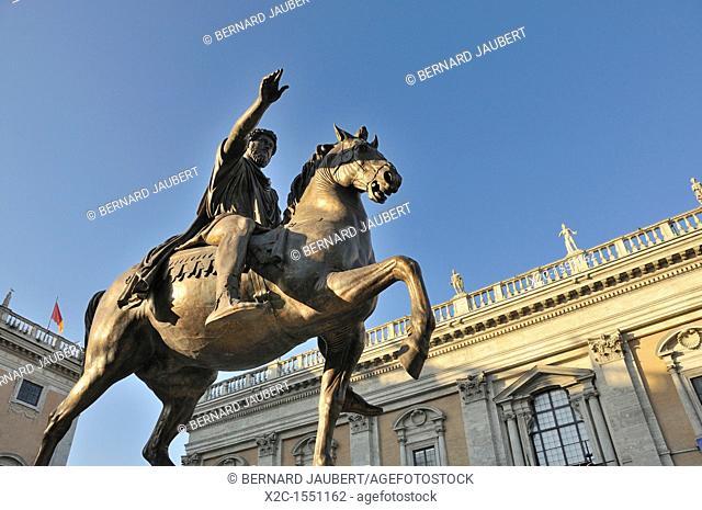 Equestrain statue of Emperor Marcus Aurelius in Piazza del Campidoglio, Capitoline Hill, Rome, Italy, Europe