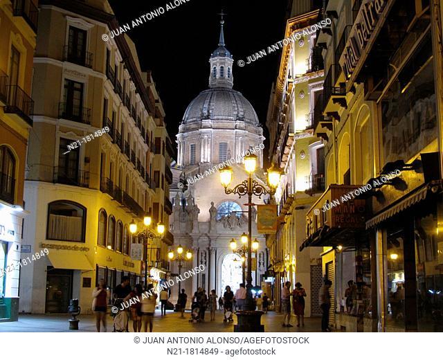 Partial view of the Basilica de Nuestra Señora del Pilar at night as seen from Alfonso I street  Zaragoza, Aragón, Spain, Europe