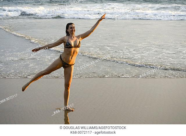 Woman, 26, at the beach at San Agustinillo, Oaxaca, Mexico